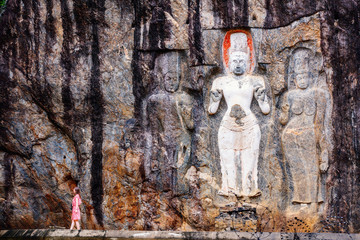 Female tourist at Buduruwagala temple