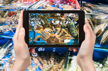 tourist photographs crab on fish market in China