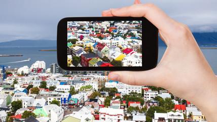 tourist photographs Reykjavik city in Iceland