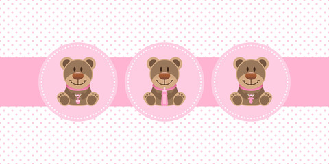 Baby Girl Card 3 Teddys Dots