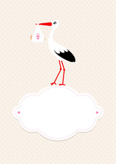 Baby Card Girl Stork Black/White Cloud Beige