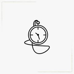 retro hand clock line icon