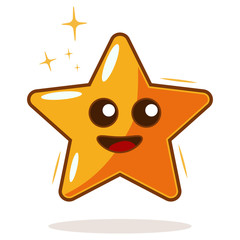 Cartoon gold star vector character. Illustration isolated on white background. Kawaii face emotions.