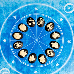 all astrology signs of the zodiac on a blue horoscope