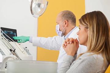 Nervous patient at the dentist office