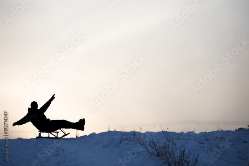 Silhouette Of Crazy Man Enjoy A Sleigh Ride Man Sledding Funny Man