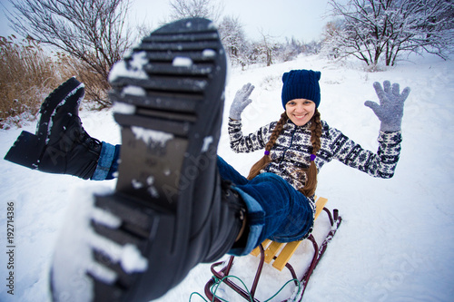 Crazy Woman Enjoy A Sleigh Ride Woman Sledding Funny Woman Play