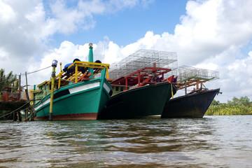 Fisherman boat moored at port located in Terengganu, Malaysia