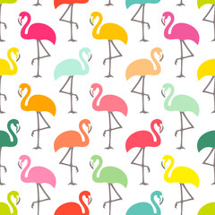 Graphic Flamingo Seamless Pattern Tropical Colors