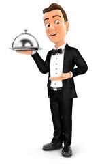 3d waiter standing with restaurant cloche