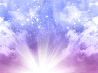 Wall Mural - mystical divine angelic sky background with divine light and stars in blue, purple colors