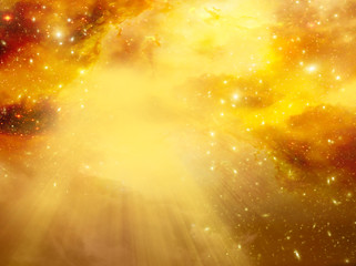 Wall Mural - mystical divine angelic sky background with divine light and stars in yellow gold orange colors