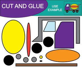 Create the image of concrete mixer (transport) using scissors and glue. Educational game for children. Vector illustration.
