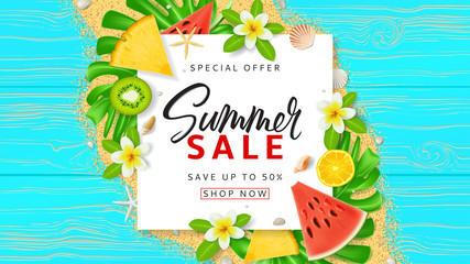 Summer sale web banner template. Top view on red sun glasses, seashells, tropical leaves, watermelon slice and plumeria flowers on wooden texture. Vector illustration with spesial discount offer.