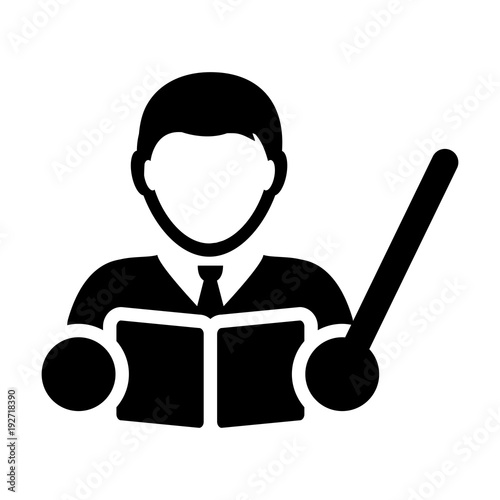 Teacher Icon Vector Male Person Profile Avatar with a Book