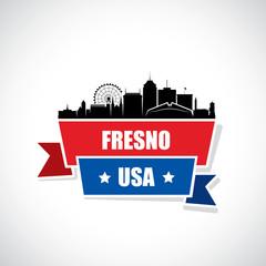 Fresno skyline - ribbon banner - California