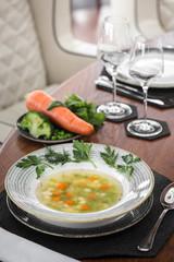 Vegetarian vegetable soup. Beautiful serving in a restaurant
