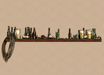 Bar stand with bottles