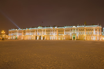 Winter Palace in the January evening, Saint Petersburg