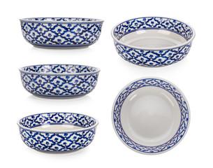 Vintage ceramic bowl on white background