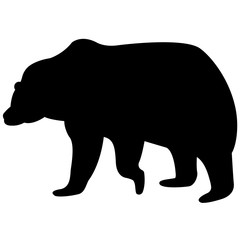 Vector image of a brown bear silhouette on a white background