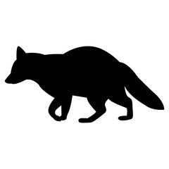 Vector image of silhouette of a raccoon on a white background