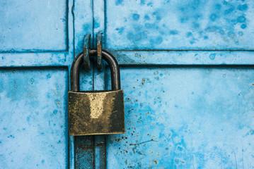 Lock on the blue vintage door Wall mural