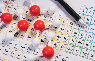 Chemistry model atom of molecule water scientific elements on periodic table of the elements. Chemistry conceptual plastic model for education.