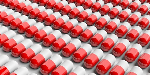 Red pills capsules background. 3d illustration