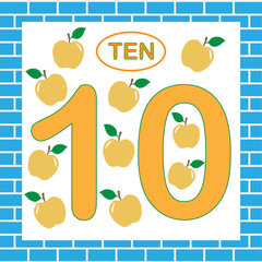 Flashcard with number 10 (ten). Education for preschool children. Learning numbers, mathematics