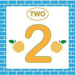 Flash card with number 2 (two). Learning numbers, mathematics. Education for children.