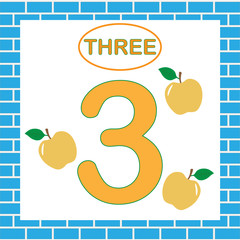 Flashcard with number 3 (three). Learning numbers, mathematics. Education for children.