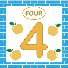 Learning numbers, mathematics. Card with number 4 (four)