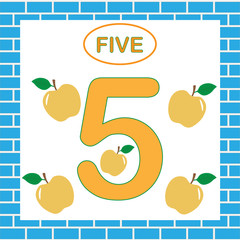Education for children. Learning numbers, mathematics. Card with number 5 (five).