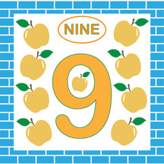 Card with number 9 (nine). Learning numbers, mathematics