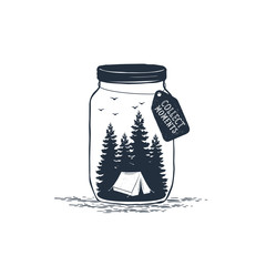 "Hand drawn travel badge with pine trees in a jar textured vector illustration and ""Collect moments"" inspirational lettering."