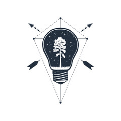 Hand drawn travel badge with pine in a bulb textured vector illustration.