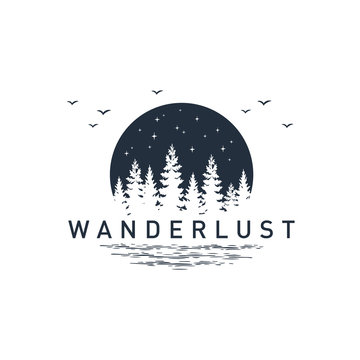 """Hand drawn travel badge with pine trees textured vector illustration and """"Wanderlust"""" inspirational lettering."""