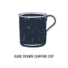 "Hand drawn travel badge with metal mug textured vector illustration and ""Hand drawn camping cup"" lettering."