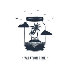 "Hand drawn travel badge with palm trees in a jar textured vector illustration and "" Vacation time"" inspirational lettering."