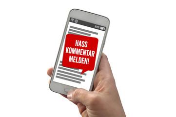 Smartphone Handy Hasskommentar melden Hatespeech