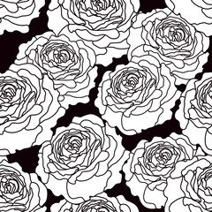 Black and white graphic roses seamless pattern. Vector illustration.