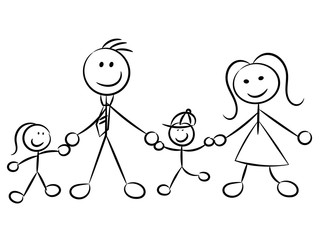 Happy family naive sketchy characters isolated