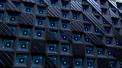 Abstract blue background with squares and striped triangles. Tiled modern dark squares with blue glow inside. Technology and connection concept. Futuristic background. Sci-fi wall panel. 3d rendering.