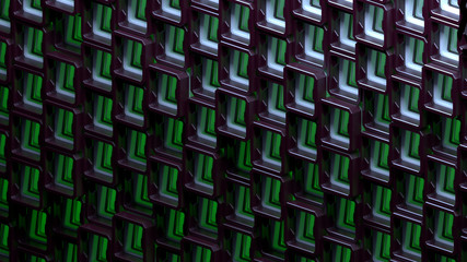 Abstract squares background from random motion geometry. Tiled modern dark squares with green glow inside. Honeycomb wallpaper. Futuristic background, technology element. Sci-fi  cells. 3d rendering.