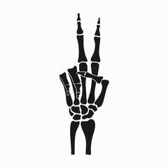 Peace sign of skeleton hand, gesture made of fingers bones. Vector illustration.