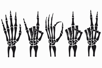 Skeleton hand gestures set. Collection of hand-drawn bones signs. Vector illustration.