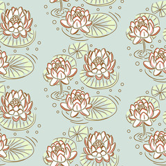 Lotus vector seamless pattern. Pastel blue floral pond background.
