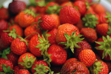 Fresh strawberry as background. Close up, top view, high resolution product