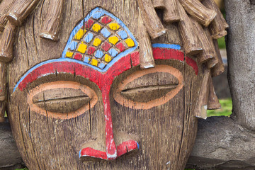 brown bright traditional African ritual mask